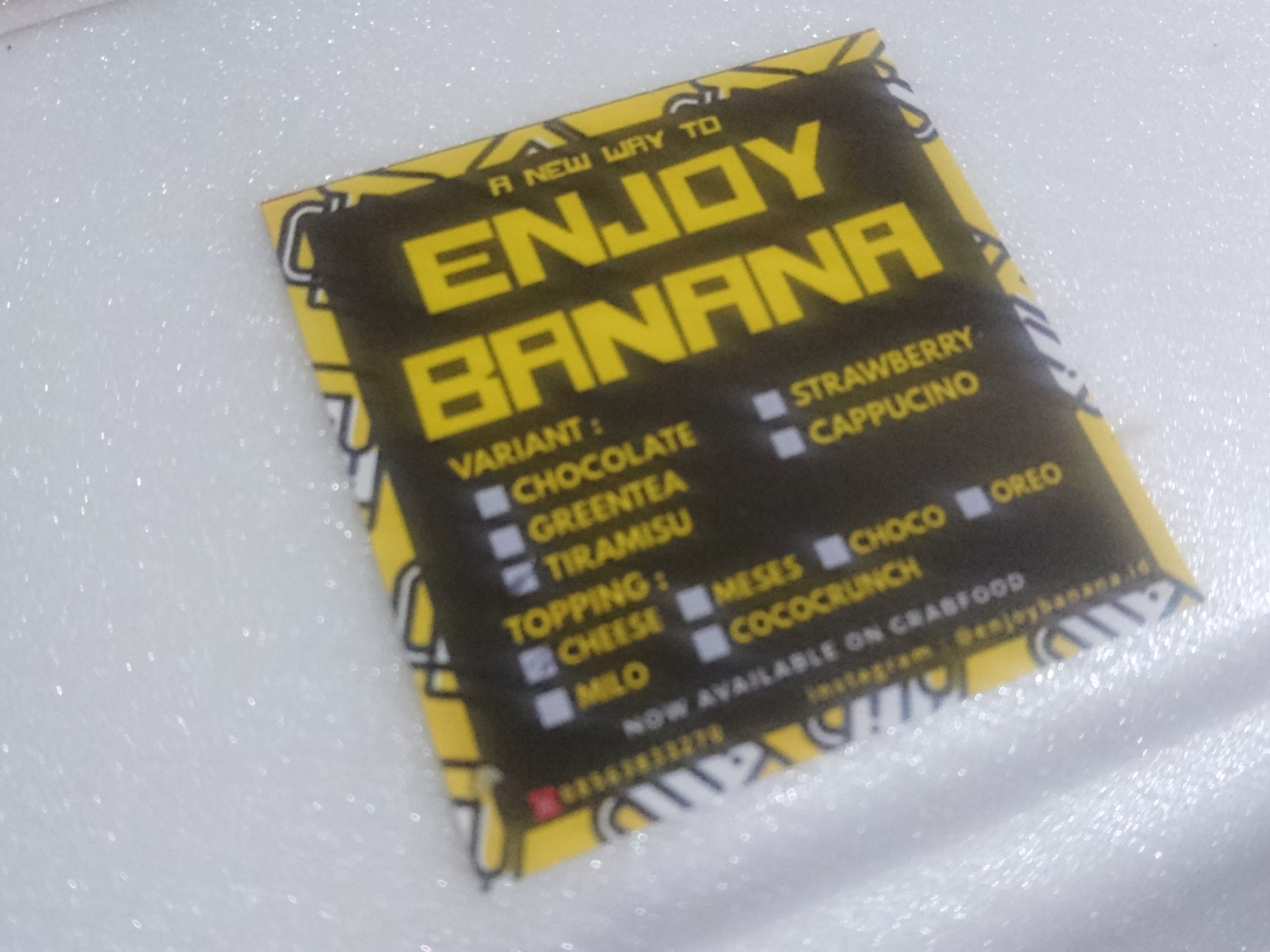 Logo Enjoy Banana, salah satu spesialis pisang nugget di Kota Malang. (Foto: Riska Suci Rahmawati)